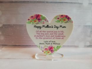 Personalised Acrylic Heart Mother/Grandmother Poem Gift